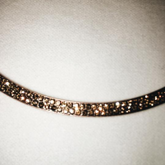 Anthropologie Brown Leather Necklace with bronze pave gems Image 1