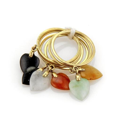 Other 18205 - Estate Multicolor Jade Heart Drop Charms 14k Gold 6 Stack Ring Image 1