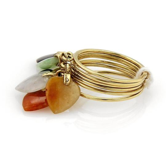 Other 18205 - Estate Multicolor Jade Heart Drop Charms 14k Gold 6 Stack Ring Image 2