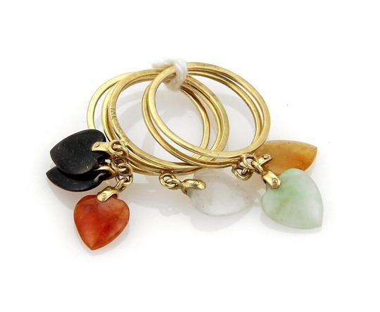 Other 18205 - Estate Multicolor Jade Heart Drop Charms 14k Gold 6 Stack Ring Image 4