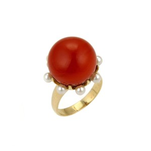 Other Coral & Seed Pearls Cocktail 14k Gold Ring