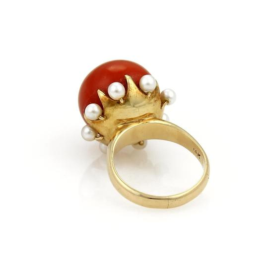 Other Coral & Seed Pearls Cocktail 14k Gold Ring Image 2