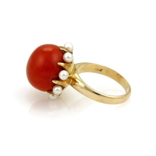 Other Coral & Seed Pearls Cocktail 14k Gold Ring Image 3