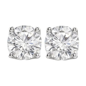 Veronica V. Round Cubic Zirconia Stud Earrings in Sterling Silver