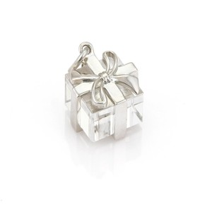 77a448ebc0fdc Tiffany & Co. #21661 Box Rock Crystal Sterling Silver Ribbon Wrapped Gift  Charm 38% off retail