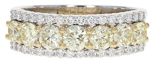 Wilson Brothers NEW Fancy Yellow & White Diamond Ring - 14k White Gold Size 7 Round Cu