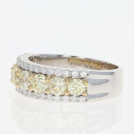 Wilson Brothers NEW Fancy Yellow & White Diamond Ring - 14k White Gold Size 7 Round Cu Image 1