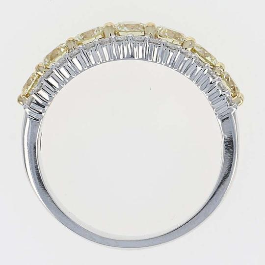 Wilson Brothers NEW Fancy Yellow & White Diamond Ring - 14k White Gold Size 7 Round Cu Image 2