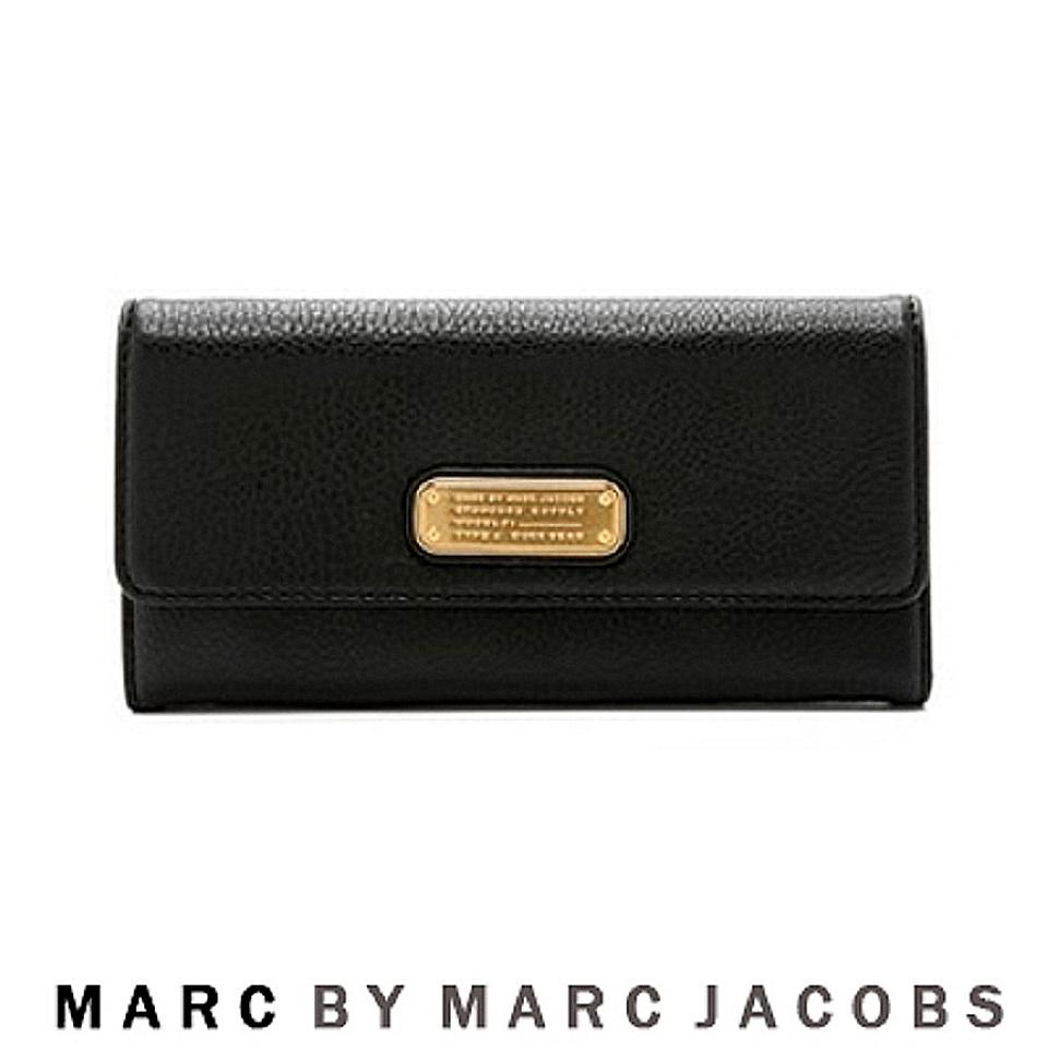 marc by marc jacobs black new long trifold leather wallet. Black Bedroom Furniture Sets. Home Design Ideas