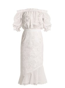 White Broderie Anglaise Maxi Dress by SALONI Strapless Midi Length