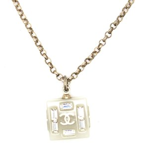 Chanel #15396 CC clear charm with crystals goldhardware chain necklace