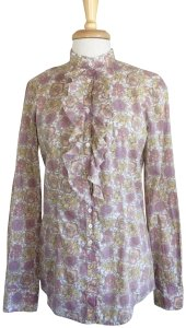 Aglini Cotton Floral Blouse Longsleeve High Neck Button Down Shirt pink yellow