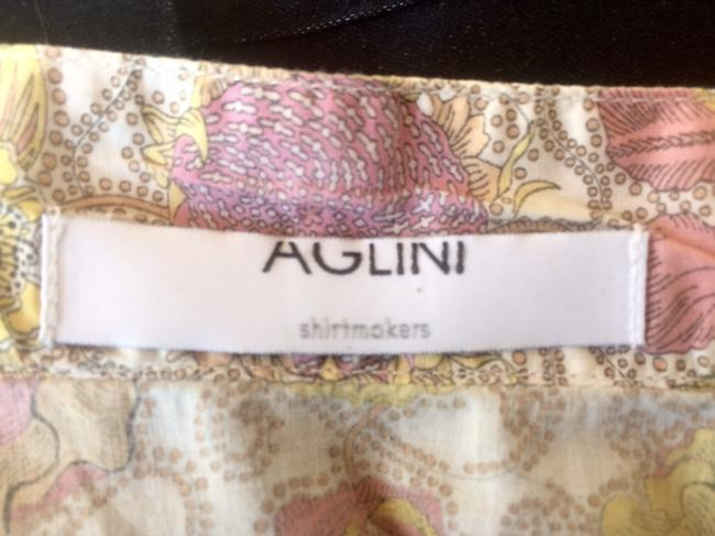 Aglini Cotton Floral Blouse Longsleeve High Neck Button Down Shirt pink yellow Image 1
