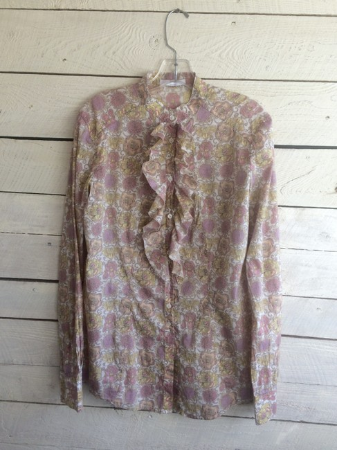 Aglini Cotton Floral Blouse Longsleeve High Neck Button Down Shirt pink yellow Image 2