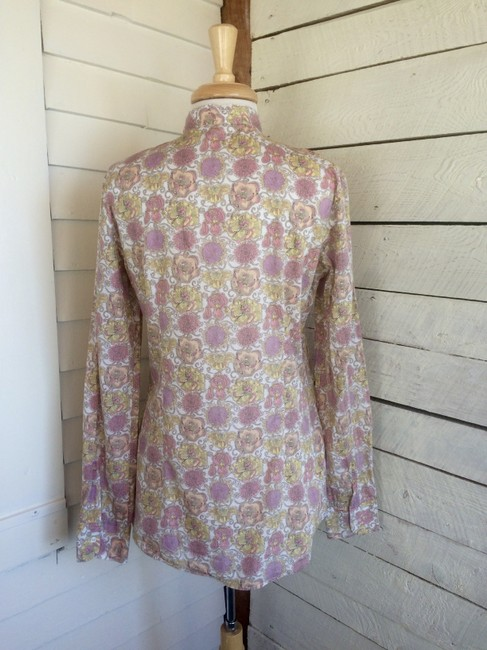 Aglini Cotton Floral Blouse Longsleeve High Neck Button Down Shirt pink yellow Image 3
