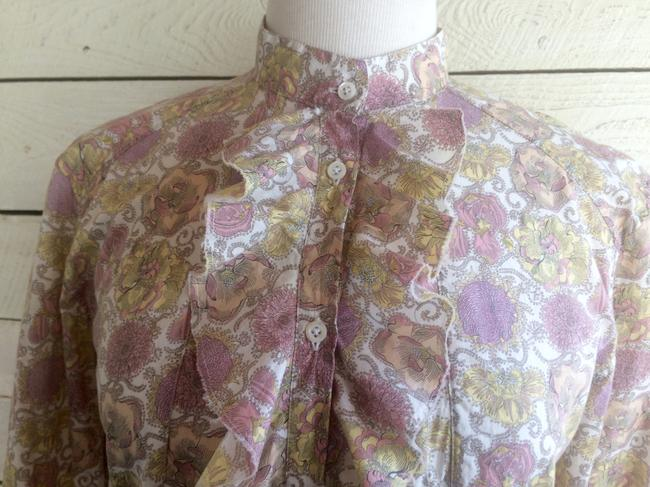 Aglini Cotton Floral Blouse Longsleeve High Neck Button Down Shirt pink yellow Image 4