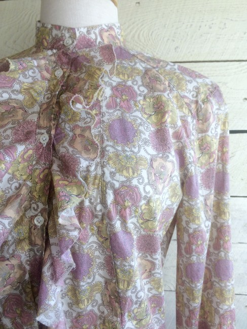 Aglini Cotton Floral Blouse Longsleeve High Neck Button Down Shirt pink yellow Image 6