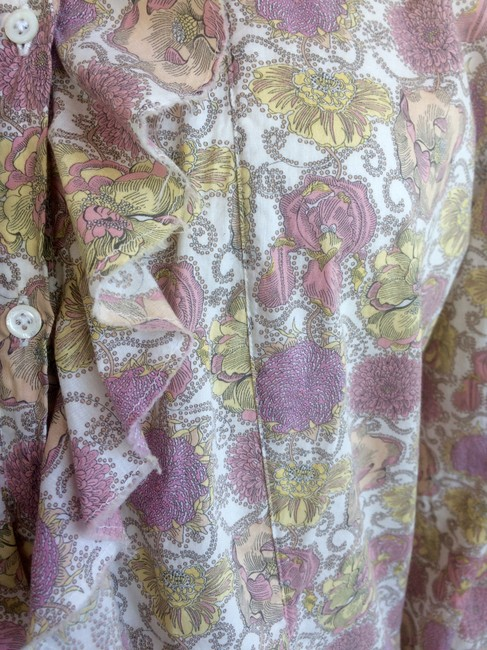 Aglini Cotton Floral Blouse Longsleeve High Neck Button Down Shirt pink yellow Image 7