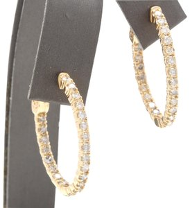 OTHER 2.25Ct Natural Diamond 14K Solid Yellow Gold Hoop Earrings