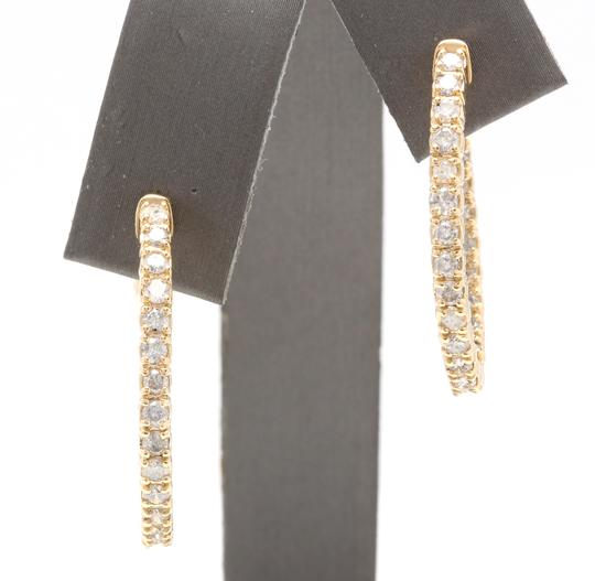 OTHER 2.25Ct Natural Diamond 14K Solid Yellow Gold Hoop Earrings Image 1