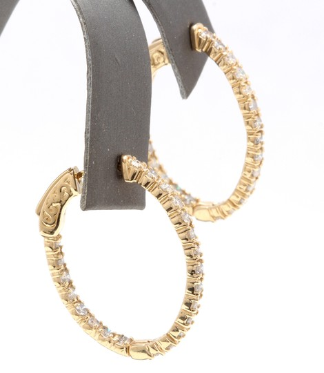 OTHER 2.25Ct Natural Diamond 14K Solid Yellow Gold Hoop Earrings Image 2