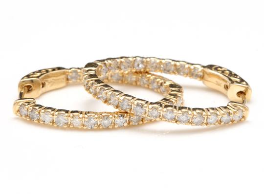 OTHER 2.25Ct Natural Diamond 14K Solid Yellow Gold Hoop Earrings Image 3