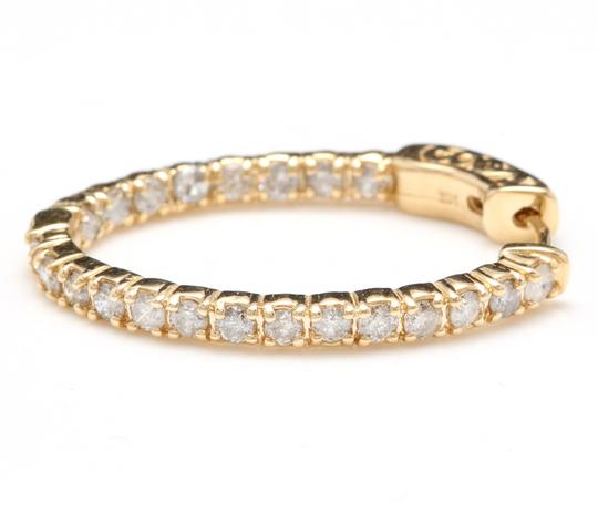OTHER 2.25Ct Natural Diamond 14K Solid Yellow Gold Hoop Earrings Image 4