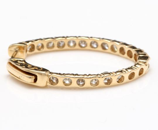 OTHER 2.25Ct Natural Diamond 14K Solid Yellow Gold Hoop Earrings Image 6