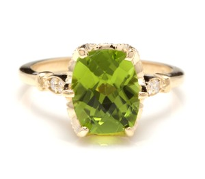 Other 3.00 Carats Natural Peridot and Diamond 14K Solid Yellow Gold Ring