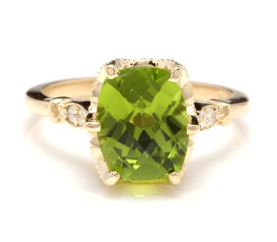 Other 3.00 Carats Natural Peridot and Diamond 14K Solid Yellow Gold Ring Image 0