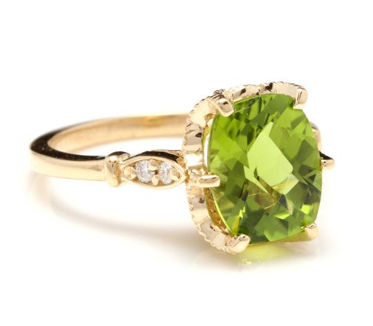 Other 3.00 Carats Natural Peridot and Diamond 14K Solid Yellow Gold Ring Image 1