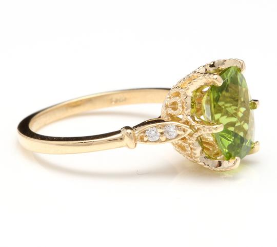 Other 3.00 Carats Natural Peridot and Diamond 14K Solid Yellow Gold Ring Image 2
