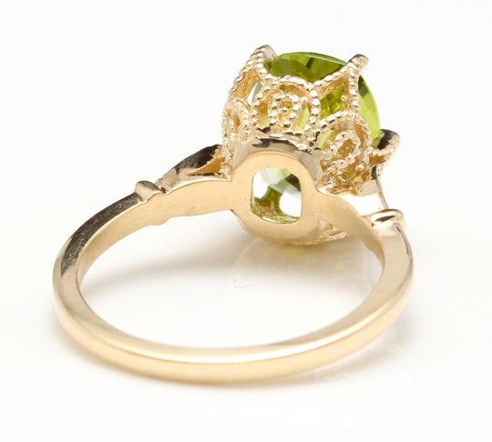 Other 3.00 Carats Natural Peridot and Diamond 14K Solid Yellow Gold Ring Image 3