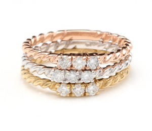 Other 0.45 Carats Diamond Set of Three Stackable Rings in 14K Gold