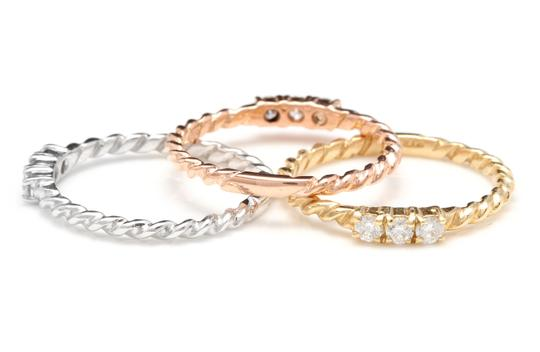 Other 0.45 Carats Diamond Set of Three Stackable Rings in 14K Gold Image 2