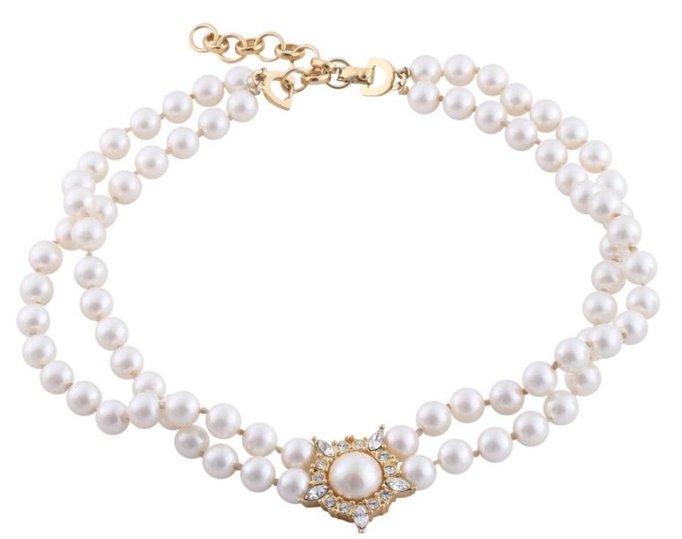 c8f68c6ff75e4 Dior Pearl White and Clear Classic Vintage Faux Double Strand Crystal  Necklace