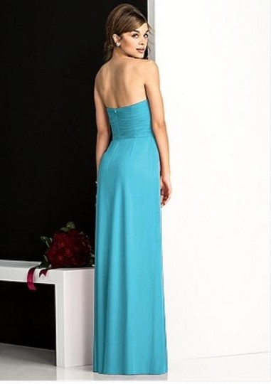 After Six Turquoise Lux Chiffon 6678 Modern Bridesmaid/Mob Dress Size 10 (M) Image 1