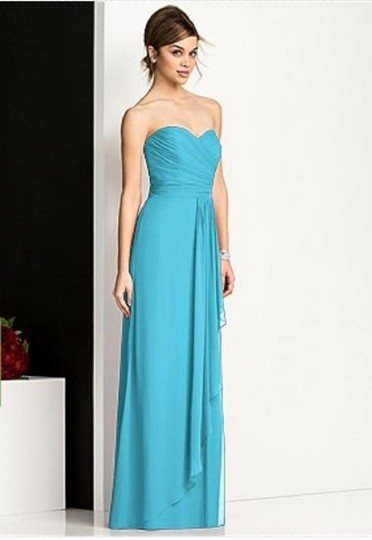 After Six Turquoise Lux Chiffon 6678 Modern Bridesmaid/Mob Dress Size 10 (M) Image 2