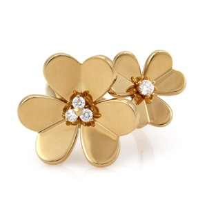 Van Cleef & Arpels FRIVOLE Diamond 18k Yellow Gold Flower Ring