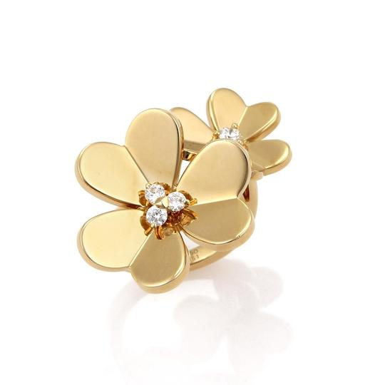 Van Cleef & Arpels FRIVOLE Diamond 18k Yellow Gold Flower Ring Image 3