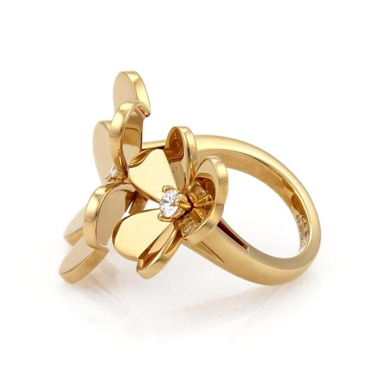Van Cleef & Arpels FRIVOLE Diamond 18k Yellow Gold Flower Ring Image 6