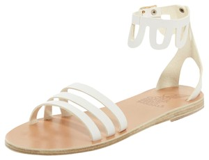 Ancient Greek Sandals Boho Scalloped Leather White Sandals