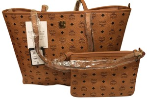Authentic MCM Large Tote Bag Tote in Cognac