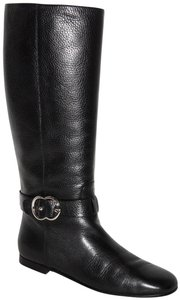 Gucci Leather Tall Gg Logo Black Boots