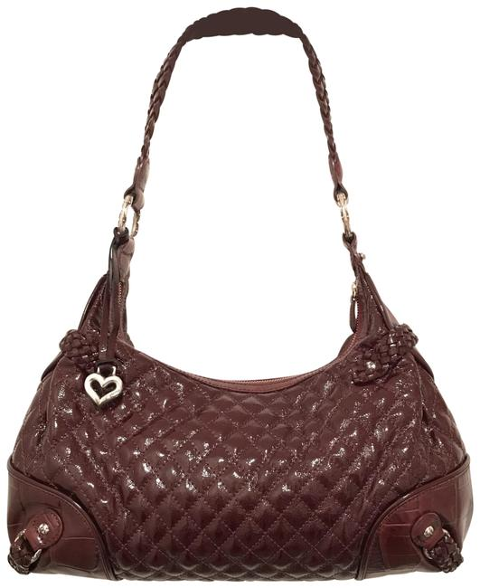 Item - Quilted & Gator Embossed Dark Red Silver Patent Leather Hobo Bag