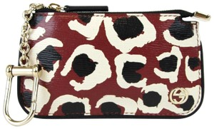 Gucci GUCCI Leopard Print Leather Clip Key Case Pouch Red 233183 6268