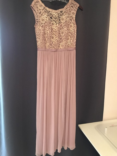 Item - Rose Gold Polyester Rayon Nylon Long with Lace Bodice F19328 Formal Bridesmaid/Mob Dress Size 6 (S)
