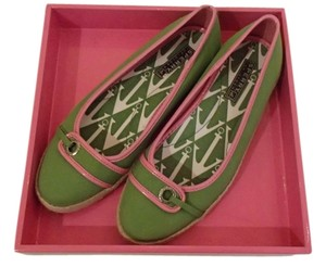 Sperry Topsider Canvas Leather Espadrille Green and Pink Flats