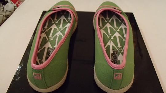 Sperry Topsider Canvas Leather Espadrille Espadrille Green and Pink Flats