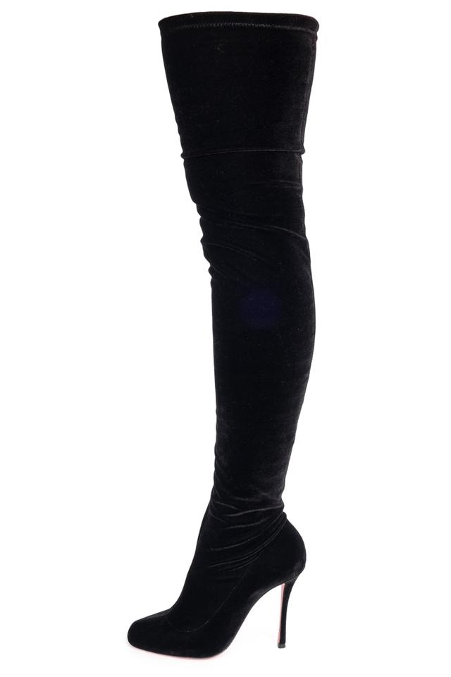 971aee1d269 Christian Louboutin Black Velvet Over The Knee Boots Booties Size EU ...